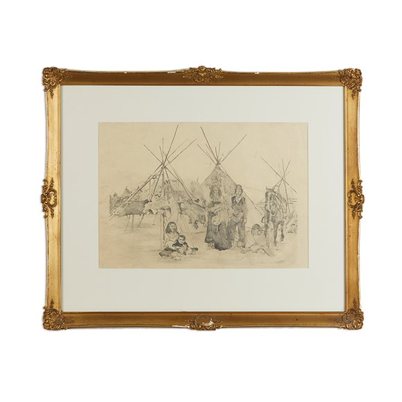 Campaign Drawing Of Native American Reservation 19Th/20Th C.