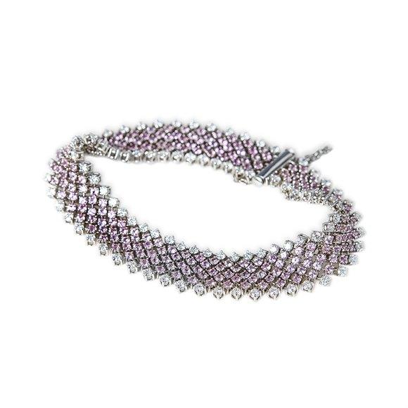 Asprey 18k White Gold Pink Sapphire & Diamond Bracelet