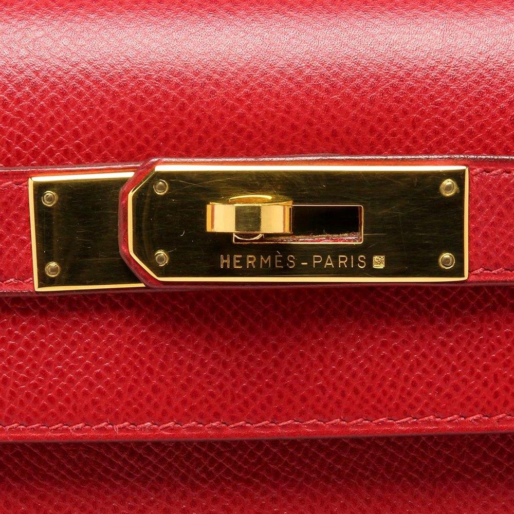 Hermès Rogue VIF Red Courchevel Vintage Kelly 28cm Sellier