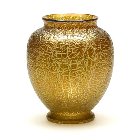 LOETZ ART NOUVEAU GOLDEN CRACKLE FINISH ART GLASS VASE 1910