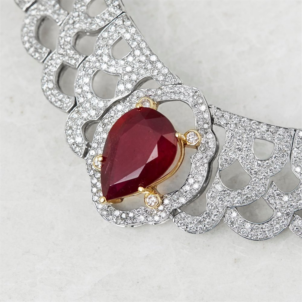 14 White Gold & Yellow Gold 14 White Gold 12.00ct Ruby & 10.75ct Diamond Vintage Necklace
