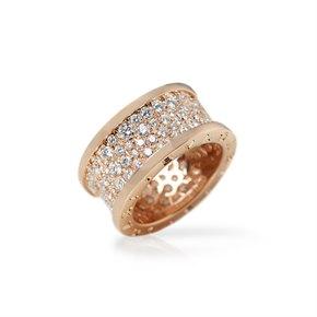 Bulgari 18k Rose Gold Diamond B.Zero 1 Band Ring