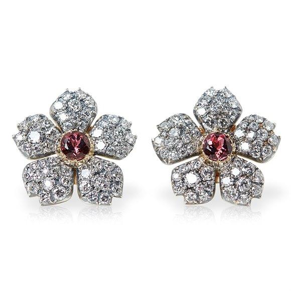 Cartier 18k White Gold Pink Tourmaline & Diamond Vintage Statement Earrings