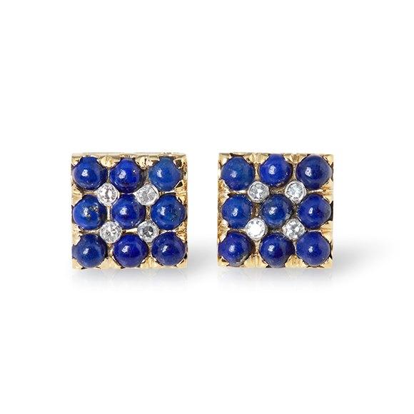 Van Cleef & Arpels 18k Yellow Gold Lapis Lazuli & Diamond Vintage Cufflinks