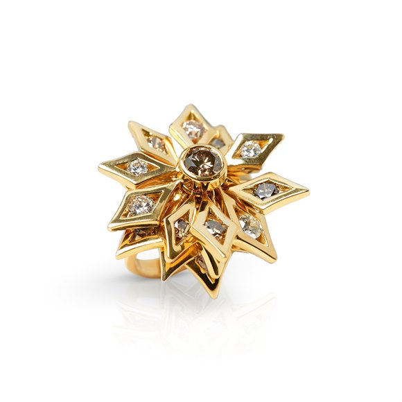 De Beers 18k Yellow Gold Fancy Brown & White Diamond Dress Ring