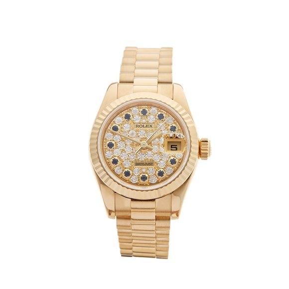 Rolex DateJust 26 Diamond & Sapphire 18k Yellow Gold - 179178