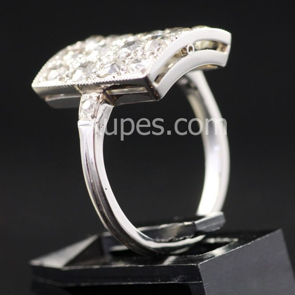 Platinum Unusual Art Deco Hallmarked Platinum Square Diamond Ring