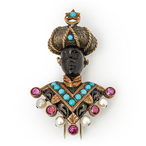 Nardi Moretto Multi-Gemstone Vintage Blackamoor Brooch
