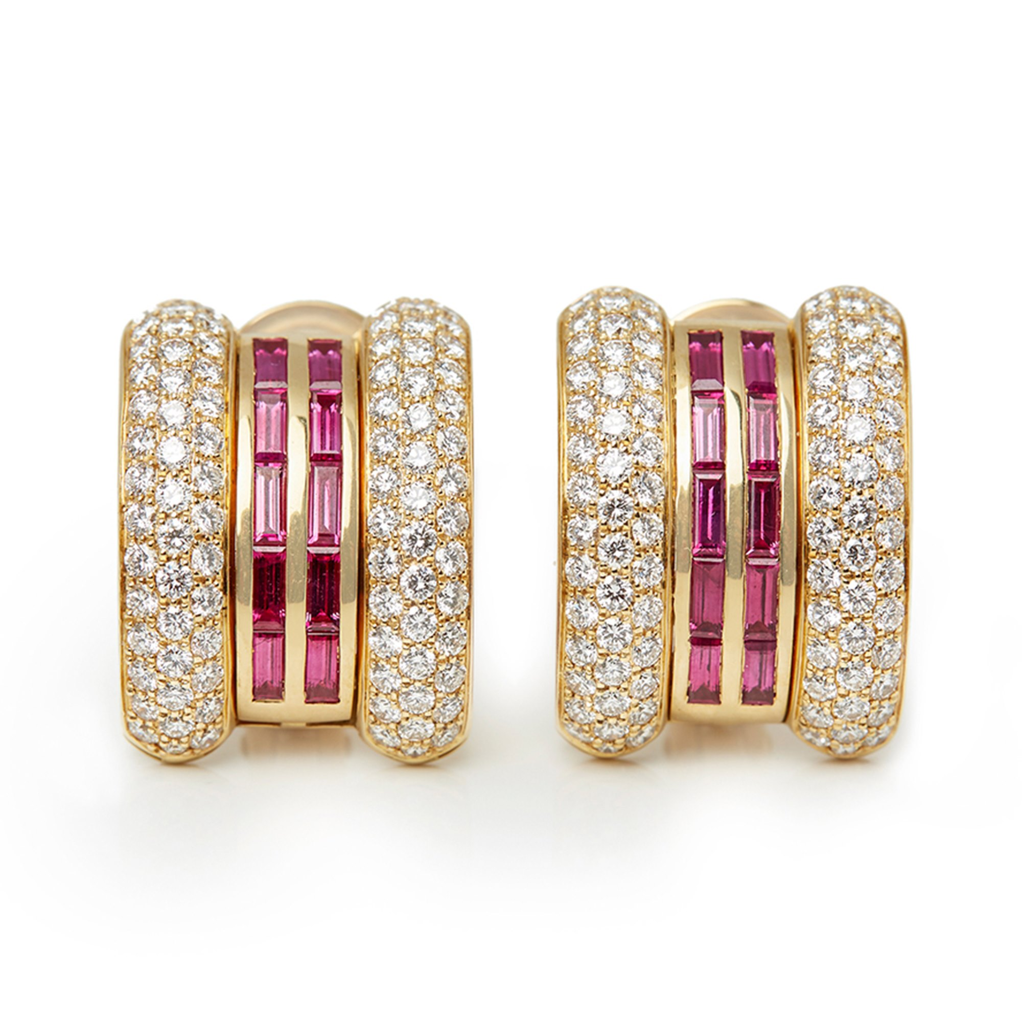 Chopard 18k Yellow Gold Ruby & Diamond La Strada Earrings