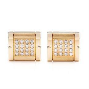 Cartier 18k Yellow Gold Diamond Tank Francaise Cufflinks
