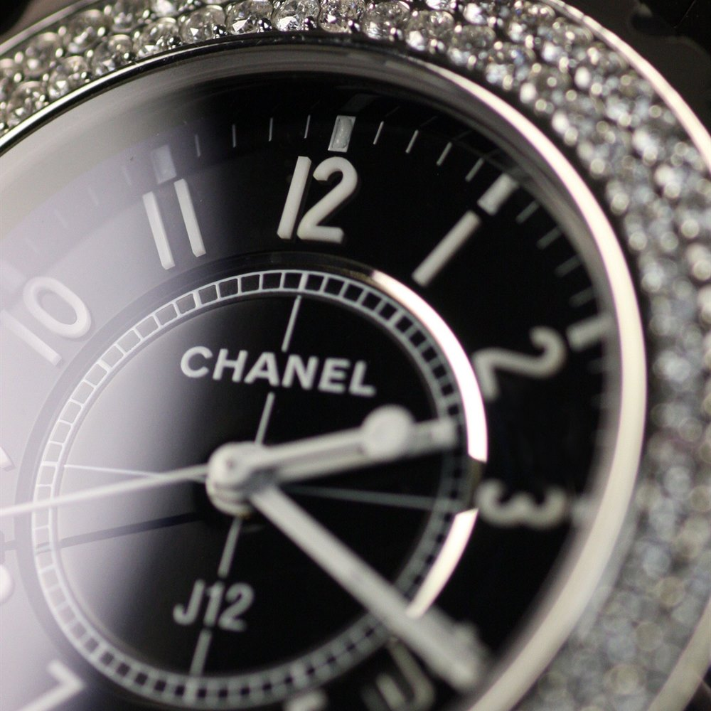Chanel J12 Stainless Steel/Black Ceramic with after market Diamond bezel H0949