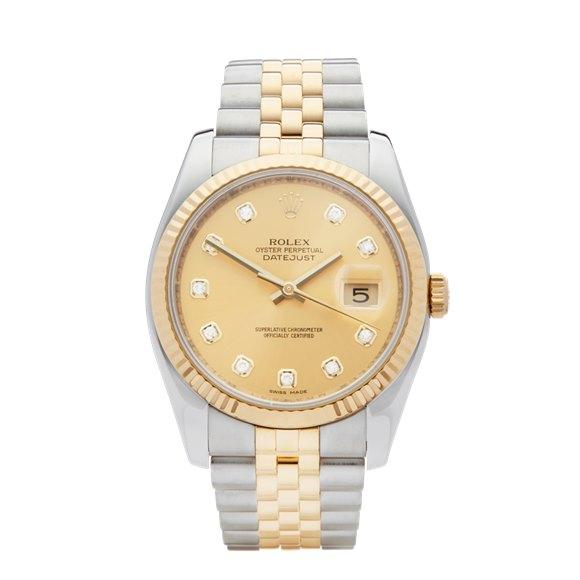 Rolex DateJust 36 Diamond Stainless Steel & Yellow Gold - 116233
