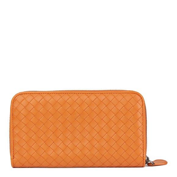 Bottega Veneta Orange Woven Calfskin Leather Zip Around Wallet
