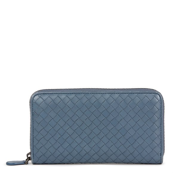 Bottega Veneta Light Tourmaline Woven Calfskin Leather Zip Around Wallet