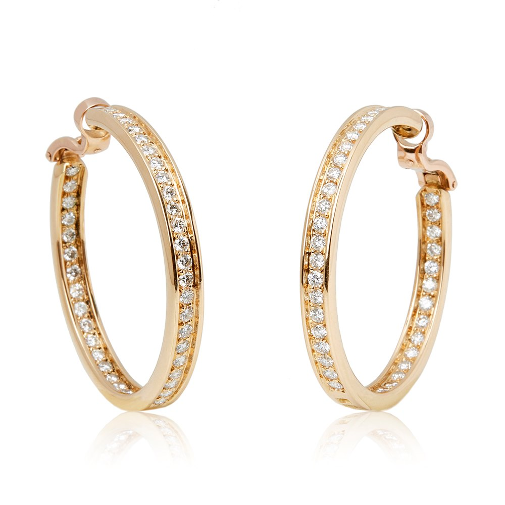 Cartier 18k Yellow Gold Diamond Inside Out Hoop Earrings