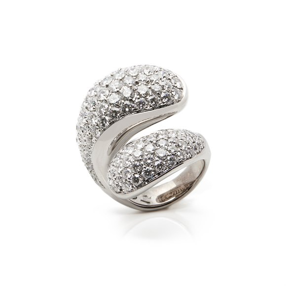De Grisogono 18k White Gold Diamond Contrario Cocktail Ring
