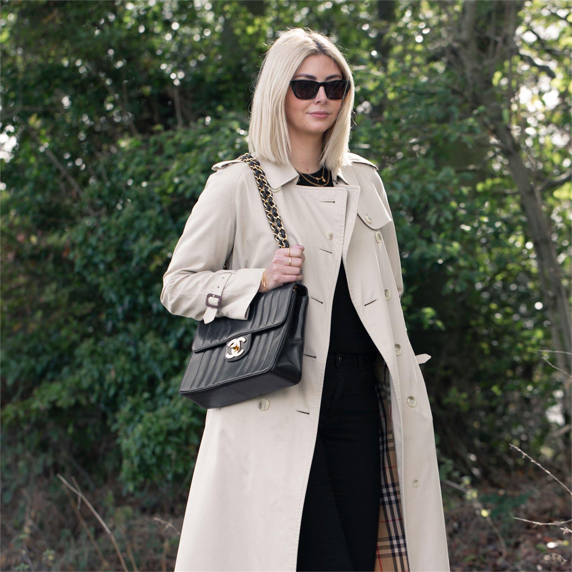 Chanel Black Vertical Quilted Lambskin Vintage Jumbo XL Flap Bag