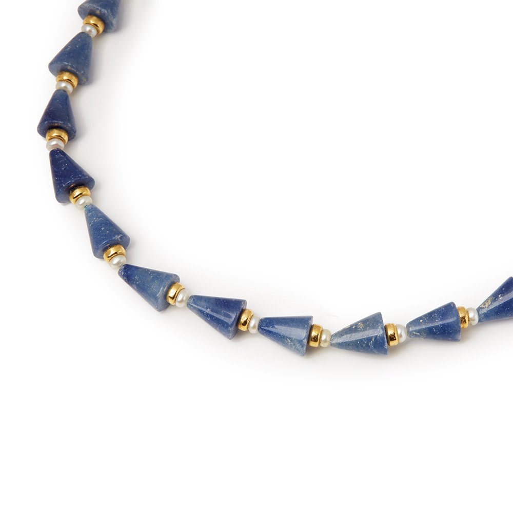 Cellini 18k Yellow Gold Aventurine & Cultured Pearl Necklace