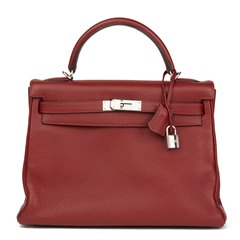 Hermès Rouge H Clemence Leather Kelly 32cm Retourne