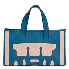 Hermès Blue De Prusse Evercolour Leather & Geranium Toile Petit H PM Skeleton Tote
