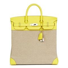 Hermès Lime Evercolour Leather & Ficelle Toile Birkin 40cm HAC