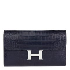 Hermès Blue Nuit Matte Mississippiensis Alligator Leather Constance Long Wallet