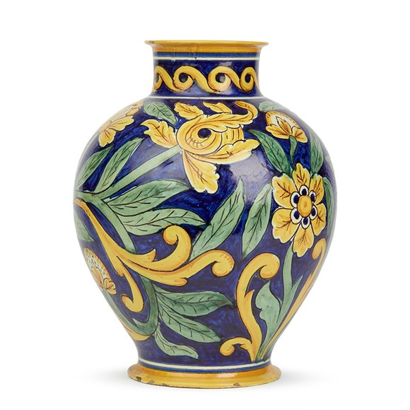 LARGE ANTIQUE CANTAGALLI MAIOLICA FLORAL PAINTED VASE