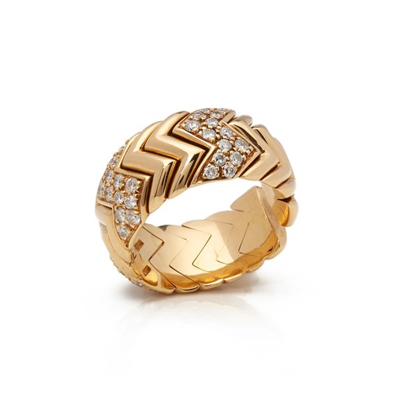 Bulgari 18k Yellow Gold Diamond Spiga Ring