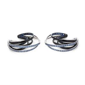 De Grisogono 18k White Gold Black & Nano-Ceramic Coating Sapphire Allegra Earrings