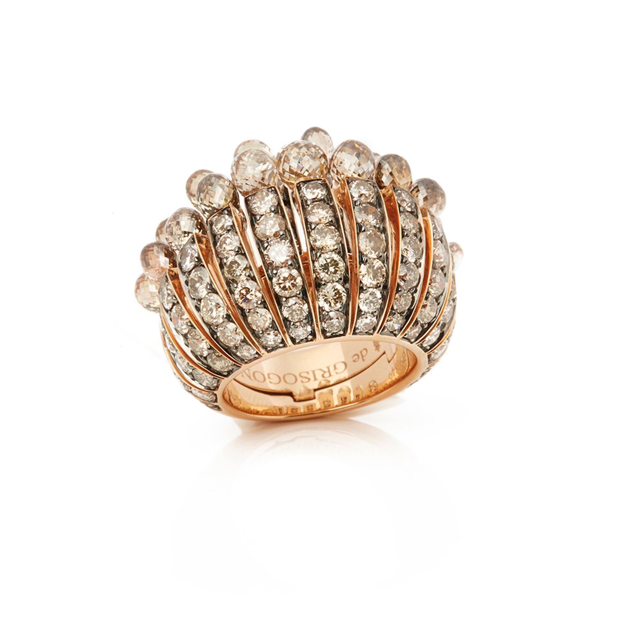 De Grisogono 18k Rose Gold Brown Diamond Frange Ring