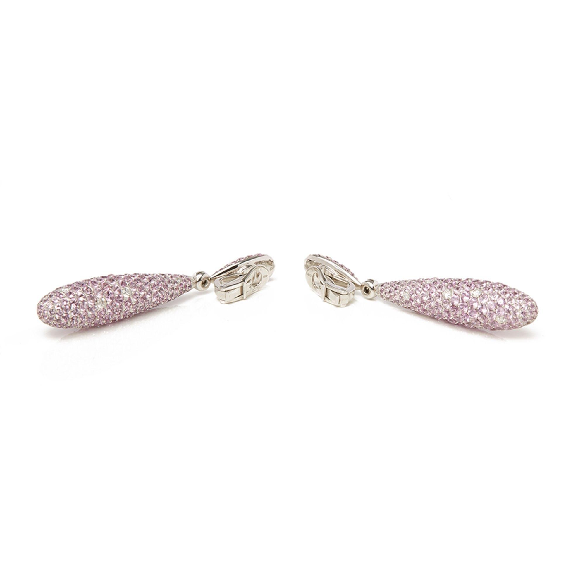 De Grisogono 18k White Gold Pink Sapphire & Diamond Gocce Earrings