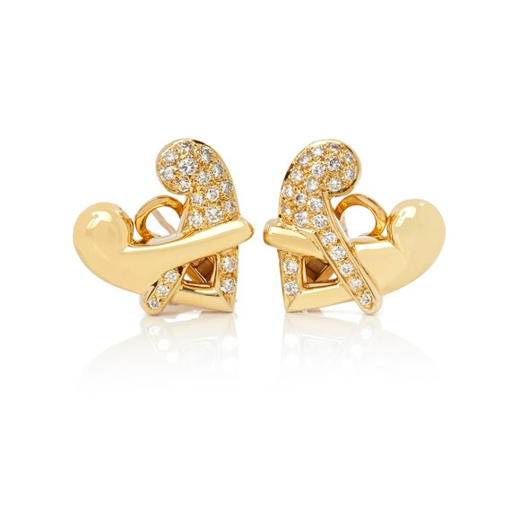 Boodles 18k Yellow Gold Diamond Hug Earrings