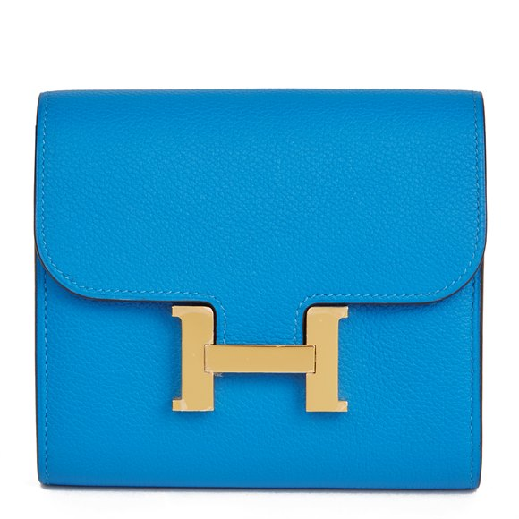 Hermès Blue Hydra Evercolor Leather Constance Compact Wallet