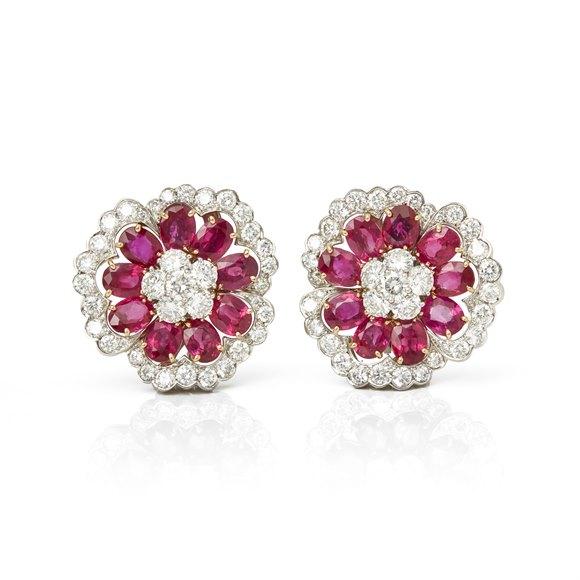 Van Cleef & Arpels Platinum Ruby & Diamond Flower Camellia Earrings