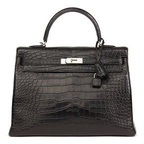 Hermès Black Matte Mississippiensis Alligator Leather Kelly 35cm Retourne