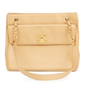 Chanel Beige Caviar Leather Vintage Shoulder Bag