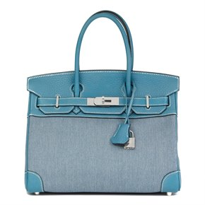 Hermès Blue Jean Clemence Leather & Denim Birkin 30cm