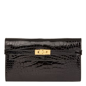 Hermès Black Shiny Mississippiensis Alligator Leather Kelly Long Wallet