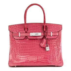 Hermès Fuschia Shiny Porosus Crocodile Leather 'Diamond' Birkin 30cm