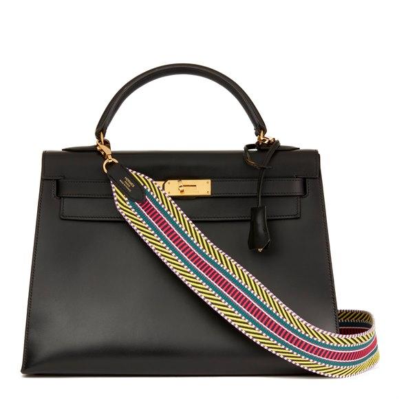 Hermès Black Box Calf Leather Vintage Kelly 32cm