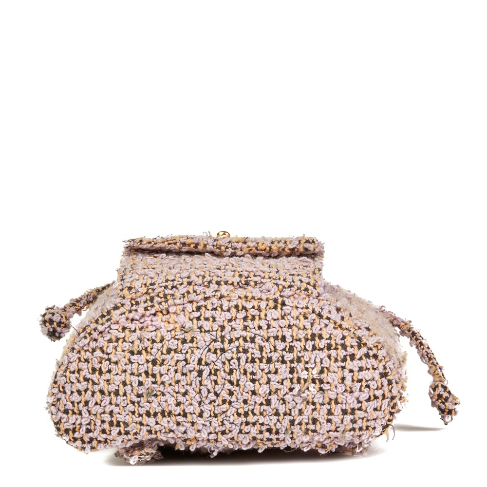 Chanel Lilac Quilted Tweed Fabric Vintage Classic Backpack