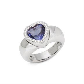 Piaget 18k White Gold Iolite & Diamond Heart Cocktail Ring