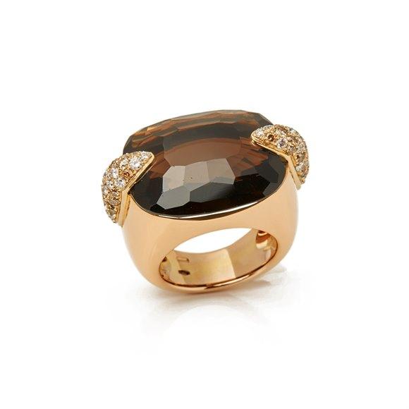 Pomellato 18k Yellow Gold Smoky Quartz & Diamond Cocktail Ring