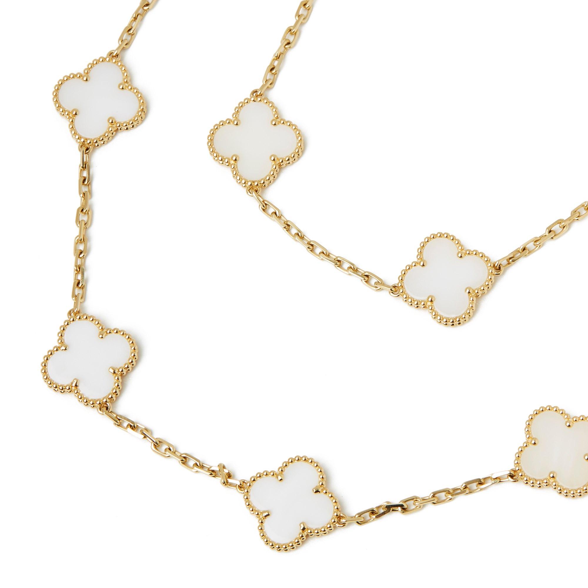 Van Cleef & Arpels 18k Yellow Gold White Coral 20 Motif Vintage Alhambra Necklace
