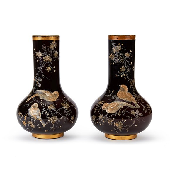 PAIR RUBY OVERLAY BIRD APPLIED GLASS VASES 19TH C.