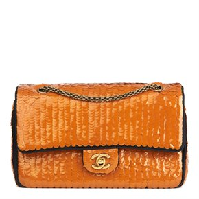 Chanel Black Satin & Orange Sequin Embellished Paris-Shanghai Medium Classic Double Flap Bag