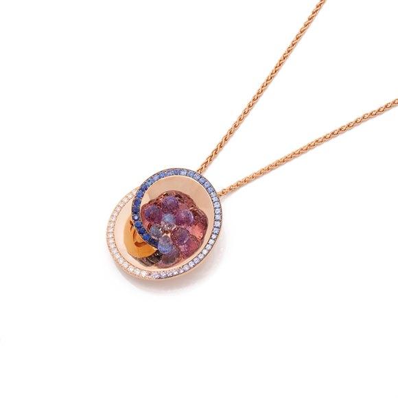De Grisogono 18k Rose Gold Diamond, Sapphire & Amethyst Chiocciolina Necklace