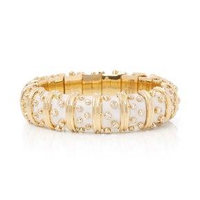 Tiffany & Co. 18k Yellow Gold White Enamel Schlumberger Bracelet
