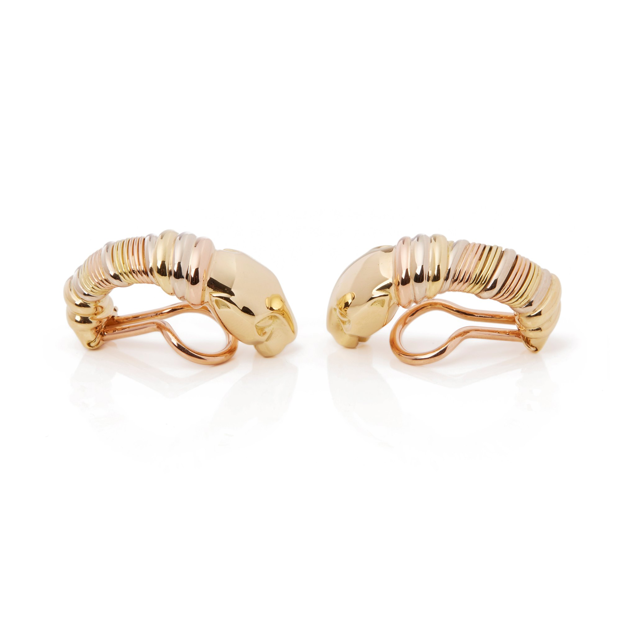 Cartier 18k Yellow, White & Rose Gold Panthère Earrings