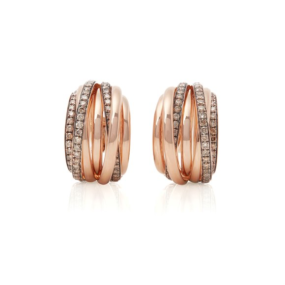 De Grisogono 18k Rose Gold Brown Diamond Allegra Earrings
